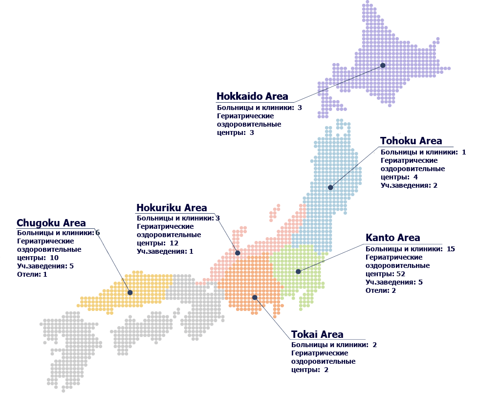 130 facilities / We operate 130 facilities throughout Japan, including hospitals, wellness facilities, educational and childcare facilities and hotels, etc.